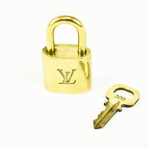 LOUIS VUITTON Gold LV Logo Padlock #309 (rd)